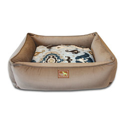"""Luca for Dogs - Large Coco Lounge Bed, Heirloom Blue - This beautifully designed bed allows your dog to stretch out and stay ultra cozy. Our signature """"easy-wash"""" sheet covers make washing easy and quick. Overstuffed with 100% recycled fiber. Nylon liner protects the inner pillow. 100% washable."""
