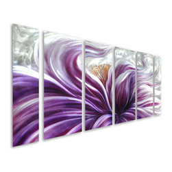 Pure Art - Blossoming Brilliance Hand-Painted Metal Wall Art Hanging Set of 6 - Explore the brilliance of an opening bloom by displaying this beautiful and very colorful metal wall hanging in your home or office! The Blossoming Brilliance Hand Painted Metal Wall Art Hanging Set of six panels portrays a blossom opening up with a slightly abstract take on its petals.  A silvery shimmer of background adds to the surreality that is emitted by this fabulous piece.  Hang this fabulous metal wall art grouping in any space where you want to pay homage to your love of mother nature and the wonderful gifts that she bestows upon us, including beautiful flowers. Hand painted aluminum wall hangingMade with top grade aluminum material and handcrafted with the use of special colors, it is a very appealing piece that sticks out with its genuine glow. Easy to hang and clean.