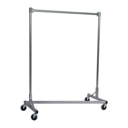 Z Racks - Heavy Duty Z-Rack 48 in. Single Rail Garment - Base Color: Silver. 500lb capacity. 14 gauge, 48 in. Long steel base (Environmentally safe powder coated finish). 16 gauge, 60 in. upright bars and hang rail. 1 5/16 outside diameter upright bars and hang rail. Grey non-marking soft rubber with TP center 4 in. casters. Made in the USA. Assembly Required. 51 in. L x 23 in. W x 67 in. HThis Z-Rack can satisfy several household and business purposes, all while saving valuable floor space. And because it is industrial grade, with five foot uprights, you don�۪t have to worry about stability and control.