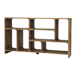 Marco Polo Imports - Goodman Console Room Divider - Drawing inspiration from early French and American architecture, the Goodman console room divider combines modern functionality with woods reclaimed from old buildings for a found appeal that is as striking as it is livable. With unique characteristics defined by the geographic region from which the timbers originate, the wood is bleached, sanded and finished to heighten the woods' raw beauty.