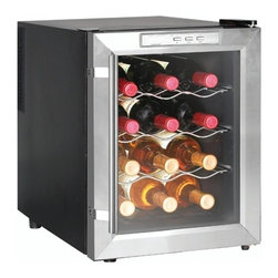 New Air - 12 Bottle Thermoelectric Wine Cooler - Quiet & vibration free thermoelectric cooling system. Digital temperature display. Compact storage for 12 bottles of wine. LED interior lighting. 3 chrome plated pull out shelves. See-thru door. Complementary stainless steel trim. Single zone cooling. . 19 in. L x 14 in. W x 20 in. H (26 lbs)Store your wine collection at the perfect temperature with the NewAir AW-121E wine cooler. This thermoelectric wine cooler can store up to 12 bottles of your favorite wine and offers a clean, classic look that any wine enthusiast is sure to love.