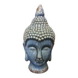 Buddha Head Sculpture - Crackle Blue Finish - **** FREE SHIPPING!!!! ****