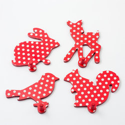 Polka Dots Red Animal Coat Rack - These hooks are intended for a kids' room, but I think they would add so much to the entryway.