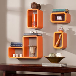 Southern Enterprises - 4 Piece Modern Shelf Set - Light Orange Multicolor - HN2504-5 - Shop for Wall Hooks Shelves and Racks from Hayneedle.com! A pop of color and your favorite treasures tucked in the 4 Piece Modern Shelf Set - Light Orange transforms your wall into a contemporary masterpiece. This vivid orange floating-shelf set includes four enclosed shelves in various sizes. Rounded corners and a floating look give an ultra-modern minimalistic look.Product Dimensions:Small (each): 10W x 7.75D x 6H in.Medium: 12W x 7.75D x 8H in.Large divided: 20.25W x 7.75D x 14H in.About SEI (Southern Enterprises Inc.)This item is manufactured by Southern Enterprises or SEI. Southern Enterprises is a wholesale furniture accessory company based in Dallas Texas. Founded in 1976 SEI offers innovative designs exceptional customer service and fast shipping from its main Dallas location. It provides quality products ranging from dinettes to home office and more. SEI is constantly evolving processes to ensure that you receive top-quality furniture with easy-to-follow instruction sheets. SEI stands behind its products and service with utmost confidence.