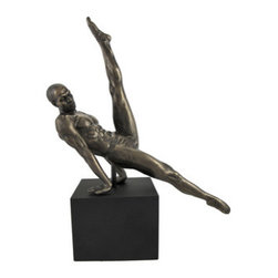 Bronzed Male Performing Gymnastic Flair on Plinth - This stunning statue depicts a male gymnast in mid-swing, performing an acrobatic move sometimes referred to as the `Thomas flair.` The beautiful bronzed finish emphasizes the detail in the piece, from the lines of the body to the flexing muscles, and makes it look like metal. Made of cold cast resin, it measures 11 1/2 inches tall, 10 3/4 inches long, 4 inches wide. The plinth has a felt lined bottom to prevent it from scratching delicate furniture, so you can display it anywhere in your home or office. This piece is a wonderful addition to art collections, is beautiful at any angle you choose to display it, and is sure to be admired.