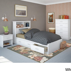 Sonax - Sonax 3S-0X1-LWB Single-size 4-piece Storage Bed Set - The Sonax 3S-0X1-LWB Single-size 4-piece Storage Bed Set offers a simple,contemporary platform bed design,ideal for any bedroom. This set includes a storage bed,thick panel footboard and headboard,a chest of drawers and a nightstand.