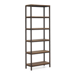ZUO ERA - Mission Bay Tall 6 Level Shelf Distressed Natural - A perfect shelving unit is hard to come by, and this six shelf distressed natural wood and metal creation just might be the answer for your office, den, bedroom, bathroom or living room. Industrial chic meets retro rustic, you can display art, books, towels, toiletries and collectibles on this open on four sides multipurpose shelving unit.