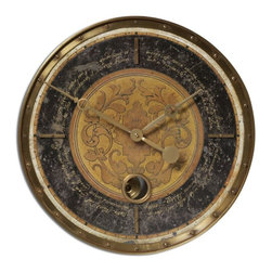 Uttermost - Vintage Black and Brass Clock with Internal Pendulum-18 in. - Leonardo  Script  18-inch  Weathered  and  Cast  Brass  Clock          The  weathered  black  face  on  this  charming  vintage  rustic  clock  includes  cast  brass  components  and  a  brass  outer  rim.  An  internal  pendulum  completes  the  look.