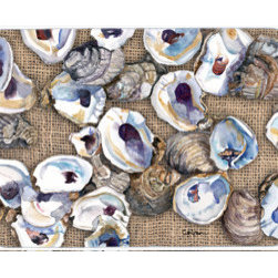 Caroline's Treasures - Oyster Kitchen Or Bath Mat 24X36 - Kitchen / Bath Mat 24x36 - 24 inches by 36 inches. Permanently dyed and fade resistant. Great for the Kitchen, Bath, outside the hot tub or just in the door from the swimming pool.    Use a garden hose or power washer to chase the dirt off of the mat.  Do not scrub with a brush.  Use the Vacuum on floor setting.  Made in the USA.  Clean stain with a cleaner that does not produce suds.