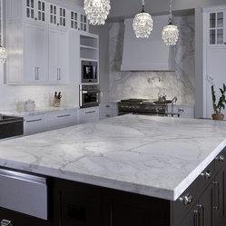 Artisan Stone Collection granite huge island in Calacatta Gold marble