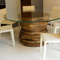 Blue Gum Eucalyptus Round Dining Table - DESCRIPTION: