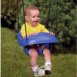 PlayStar Playsets Toddler Swing - Get the joy of swinging started early with the PlayStar Toddler Swing. It's safe and stable for children from 9 to 36 months. The attached safety lap belt keeps squirmers secure, and a soft, all-weather polypropylene rope attaches it to the play set.About PlayStarPlayStar was started in the Heartland of America, in the garage of an entrepreneur with this dream: to build a foundation of people who were hardworking, friendly, professional and self-motivated to do the right thing, to offer the ultimate customer service and provide the highest value, best quality and most innovative products. All PlayStar Playsets are designed following company safety standards that exceed government guidelines, to enhance your child's physical development and social skills.