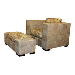 Wicker Paradise - Seagrass Chair and Ottoman - Monterey - The Monterey seagrass chair and ottoman are available at this great price and includes cushions made in this Tommy Bahama print. Hurry only 1 set remaining! Chair is 38w-36d-32h.