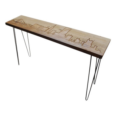 "Urban Wood Goods - Los Angeles Reclaimed Wood Console Table - Thick , 72"" x 11.5"" - Los Angeles reclaimed wood console table features the beautiful LA skyline engraved into the top of the table and accented by sturdy mid-century hairpin legs. Each LA skyline table is made of a single plank of old growth Douglas Fir that has been transformed into a one-of-a- kind table after being salvaged from a deconstructed home, barn or building in the Chicago area and surrounding midwestern states."