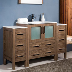 Fresca - Fresca Torino 54 Walnut Brown Modern Bathroom Vanity, Cabinets & Sink - The beautifully designed Torino 54 vanity from Fresca features a Walnut Brown finish and frosted glass panels. Perfect for adding luxury to any bathroom, the vanity and two matching side cabinets provide a superb storage solution for toiletries. Constructed to a high quality to ensure long lasting durability, the vanity also comes complete with the integrated ceramic sink, which provides a neat finish. Torino Bathroom Vanity Details:   Dimensions: Vanity 54W x 18 1/8D x 33 3/4H Side Cabinet dimensions: W 12 x D 17.75 x H 31.63 Plywood with veneer, integrated ceramic sink Single hole faucet mount Finish: Walnut Brown Includes two side cabinets Please note: faucet not included