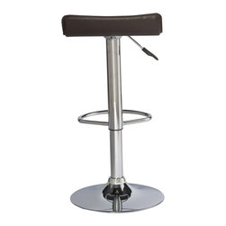 """Leick Furniture - Deep Brown Adjustable Swivel Stool - Set of 2 - Heavy duty cylinders offer a versatile seat for counter height, bar height or anything in between. Full swivel seats and sturdy footrests deliver comfort in this bold chrome and faux leather beauty. Finish: Chrome/Deep Brown PVC seat; Steel and plywood construction; Simple Assembly in minutes; Swivel seat; Adjustable height; Heavy gauge air cyliinder; Favorite Finds Collection; Material: Steel/Plywood/PU; Weight: 29 lbs; Dimensions: 15""""L x 15""""W x 25-34""""H"""