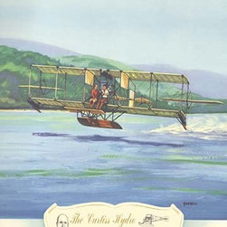 """Buyenlarge.com, Inc. - The Curtiss Hydro, 1911- Gallery Wrapped Canvas Art 12"""" x 18"""" - Biplanes or planes with Double sets of Wings during the period of early aviation"""