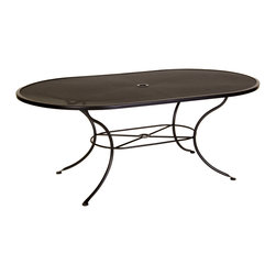 """Standard Mesh Dining Table with 2"""" Umbrella Hole - 72""""Wx42""""Dx28""""H - Dimensions -"""