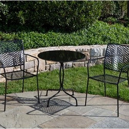 Martini Patio Bistro Set - Black - Add a bold statement to your patio with the Martini Patio Bistro Set - Black. This bistro set, which includes a table and two chairs, is perfect for any garden, terrace, or rooftop setting. The charming Martini collection in black brings artistic beauty to any home, letting you sit with a friend and enjoy a cup of coffee or glass of wine. Each piece is polished and washed in an acid solution, dried in an oven, cooled, and then powder-coated making them perfect for any outdoor setting. Chair dimensions: 15.5W x 15.5D x 35H inches. Table dimensions: 24 diam. x 29H inches.About Alfresco HomeOffering a wide selection of fashionable products, from casual furniture and garden lighting to permanent botanicals and seasonal decor, Alfresco Home casual living products offer a complete line of interior and exterior living furnishings and accents. Based out of King of Prussia, Penn., Alfresco Home continues to blend indoor and outdoor furniture to create a lifestyle of alfresco living inside and outside of the home. Inlaid mosaic tabletops, fine hardwood furnishings, artisan-inspired accents, premium silk botanicals, and all-weather wicker sets are just a few examples of the kind of treasures you'll find in Alfresco's specially designed collections.Please note this product does not ship to Pennsylvania.