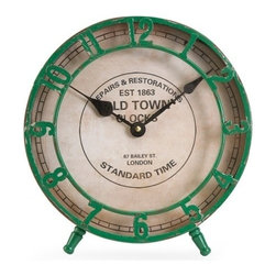 """IMAX - Avari Green Table Clock - Raised green numerals give the Avari table clock a classic vintage vibe. Item Dimensions: (10.25""""h x 10""""w x 6"""")"""