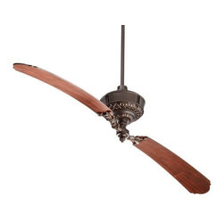 "Quorum International - Turner Ceiling Fan by Quorum International - A fan so lovely and unique, you'll want one in every room. The Quorum Turner Ceiling Fan circulates air with two lengthy blades (spanning an impressive 68""). The decorative tips of the Distressed Vintage Walnut blades complement the intricate vintage detailing of the Oiled Bronze housing and blade holders. Unique products for unique customers. That's what Quorum International has been creating since 1981. From their headquarters in Fort Worth, Texas, Quorum designs ceiling fans and lighting fixtures in a wide range of styles to meet a wide range of discerning tastes. The high quality of these pieces ensures that their beauty will last for many years to come."
