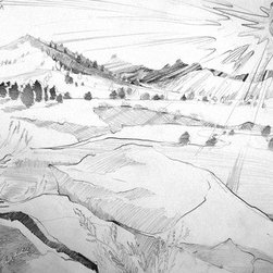 """""""Kennedy Meadows At Sunset"""" (Original) By Amy Bernays - So This Picture Is A Sketch From The Real World. It Was Cold And In The High Sierra, On A Rock Looking Out At Those Foot Hills Of The Domeland National Wilderness. The Sun Was Thick And The Landscape Seemed To Just Jot Itself Down In Line And Form As I Looked Into It."""