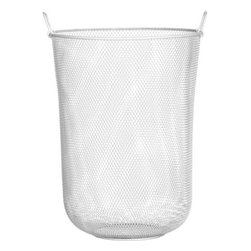 industrial mesh hamper - a fine mesh we're in. Hi-gloss brite white steel mesh tall catchall for the week's laundry. Great in bath for towel/linen storage, kids' room to stash toys. Two hinged handles for easy transport.- Oversized, all-purpose basket- Steel with white epoxy finish- Store laundry, toys or pet supplies- Made in China- See dimensions below