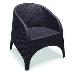 Siesta - Aruba Resin Wickerlook Chair Brown (Set of 2) - Aruba club / dining chair with curved arms and back. Dining height chair can also be used as accent chairs on a balcony or patio. Wickerlook resin is a natural looking un-woven one piece furniture technology reinforced with fiberglass. Unlike any other woven furniture in the market Wickerlook furniture will never unravel. No metal parts to rust, no moving parts that can break. Made for commercial durability. Chairs are stackable. Perfect for hotels and restaurants. UV treated. Hose down for cleaning. Withstands outdoor temperatures summer and winter.