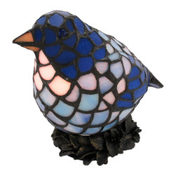 Zeckos - Stained Glass Blue Bird Accent Lamp Bluebird - This beautiful stained glass bluebirdshaped lamp adds the perfect accent to desks or nightstands of bird lovers. Measuring 7 inches tall, 9 inches long and 5 inches wide, the lamp features an antiqued bronze finished cold cast resin nest base, with the bird`s body made up of multiple shades of blue stained glass, so the light casts a soft glow. It uses nightlight style bulb (included). This lamp makes a great gift idea.