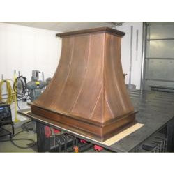 Traditional Vent Hoods - Custom Metal Vent Hood with Copper with Patina and Hand Formed Trim Custom Metal Vent Hood