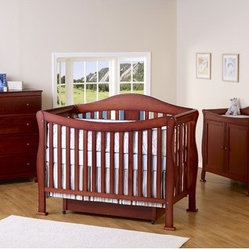 Parker Three Piece Convertible Crib Nursery Set with Toddler Rail in Cherry Pine