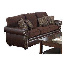 Coaster - Coaster Florence Chenille Fabric/Vinyl Sofa in Chocolate - Coaster - Sofas - 504041 - With this sofa you can have both elegance and comfort for your living room or family room. The sophisticated design offers ultra soft chocolate brown chenille fabric in the seating areas with a rich look tri-tone brown leather-like vinyl on the arms base and back sides. Individually placed decorative nailheads adorn the rolled arms and colorful accent pillows add softness and style to complete the look. Supported by pocket coil seating plush box cushions and T-style back cushions sink into this transitional sofa's luxurious comfort.