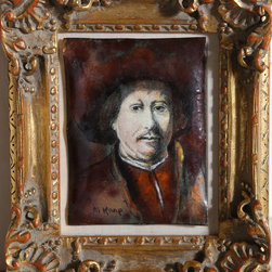 Max Karp, Portrait of Rembrandt, Enamel on Copper - Artist:  Max Karp, American (1916 - )
