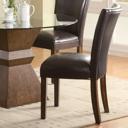 "Coaster - Nicolette Collection Side Chair in Brown, Set of 2 - Chairs are upholstered in a durable brown leather-like vinyl.; Casual Style; Nicolette Collection; Finish: Brown; Fabric Color: Brown; No assembly required.; Dimensions: 23.5""L x 19""W x 38""H"