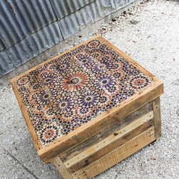 """Morrocco Crate Table/Storage/Bench 20"""" x 28"""" x 28"""" - The top lifts off and offers a large storage space and has rugged steel wheels on the underside. Crate tables not only serve as storage, but as tables and benches as well."""