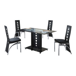 American Eagle Furniture - 114DT & B104CH Black Glass Table With Vinyl Chairs 5 Piece Dining Set - The 114DT & B104CH dining set will have you enjoying your meals in modern luxury. The dining table has a glass table top that is accented along the edges with a black finish. The table has a single column support in a black finish with cut-out details that add to the overall look. The chairs come upholstered in a stunning black vinyl material with High density foam placed within the cushion for added comfort. The chairs have a slotted open back design with the back extending down to the legs. The frame of the chairs are crafted from polished stainless steel making them very durable. The dining set consist of a dining table and four chairs only.