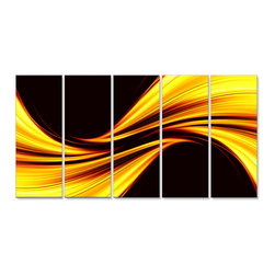 "Fabuart - ""Mellow Yellow Harmony"" Abstract Art on Canvas - 60W X 28 H - 5 Panels - This ""Liquid Blue"" artwork design is printed in high quality fade resistant ink on premium quality cotton canvas. This abstract design is sure to be the center piece of any room it is placed in. All of our graphic canvas prints are gallery wrapped around solid wood subframes, carefully packaged and arrive to you, ready to hang on the wall. Our printing technology allows for a crisp, deep canvas print which is never pixelated."