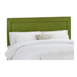 Nail Button Border Upholstered Headboard, Velvet Apple Green - The nailhead trim on these apple green velvet headboards adds the sophistication you'll need for a kids' room that can grow with your children. The velvet is even soft enough to be child friendly.