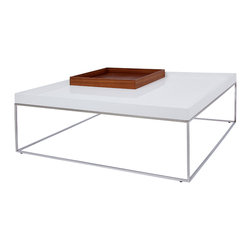 Cavoti Coffee Table (with removable trays) - The Cavoti Coffee Table comes with removable Walnut trays that can be turned upside down for a flat surface, or left right side up for a compartmentalized top to fit whatever your needs are.