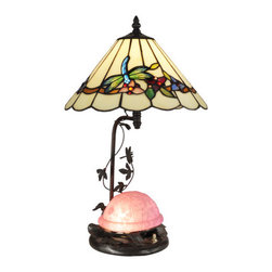Dale Tiffany - Dale Tiffany TT13002 Pink Turtle 2 Light Table Lamp - Features: