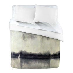 DENY Designs Conor ODonnell E3 Duvet Cover - The DENY Designs Conor ODonnell E3 Duvet Cover is music to your eyes. The watercolor feeling of this cover gives a relaxing and artistic quality to your space. The varied shades of black and white make for a mottled color scheme that's sure to get you dreaming.Duvet Cover Dimensions:Twin: 88L x 68W inchesQueen: 88L x 88W inchesKing: 88L x 104W inchesAbout DENY DesignsDenver, Colorado based DENY Designs is a modern home furnishings company that believes in doing things differently. DENY encourages customers to make a personal statement with personal images or by selecting from the extensive gallery. The coolest part is that each purchase gives the super talented artists part of the proceeds. That allows DENY to support art communities all over the world while also spreading the creative love! Each DENY piece is custom created as it's ordered, instead of being held in a warehouse. A dye printing process is used to ensure colorfastness and durability that make these true heirloom pieces. From custom furniture pieces to textiles, everything they make is unique and distinctively DENY.