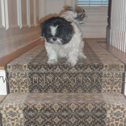 Pets on Stairs - Make your staircase safer for your dog - add a stair runner. Stair runner installation by The Stair Runner Store. http://www.StairRunnerStore.com