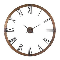 "Uttermost - Amarion Wall Clock 60"" - At 60"" in diameter the Amarion Wall Clock commands attention. This stunning clock is made of hammered copper sheeting with a light gray wash and aged black details. A customer favorite the center hands are separate from the outside frame. Some Assembly is required,"