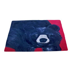 xmarc - Animal Area Rugs, Black Bear - Black bear animal area rugs, art appears on the top side, which is made of a soft plush polyester fabric. Bottom is made of durable white rubber mat with rounded and sewn corners.