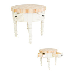 "Hardware Resources - Lyn Design Kitchen Island - Round Kitchen Island by Lyn Design. 3"" Thick End Grain Maple Butcher Block Top Included. Featuring soft-close undermount slides on drawers. Legs ship knockdown. DIMENSIONS: 36"" Diameter x 36"" Overall Height FINISH: AWH Antique White with 417DBAC hardware. -"