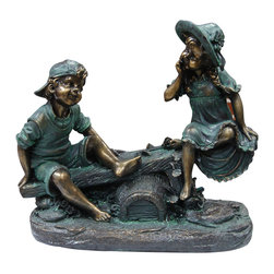 "Alpine Corporation - 14"" Tall Girl and Boy Playing on Teeter Totter Statue - This antique finish sculpture has a timeless charm that captures the innocence of childhood. The intricate detailing of these children is sure to bring a whimsical playfulness to your garden or deck."