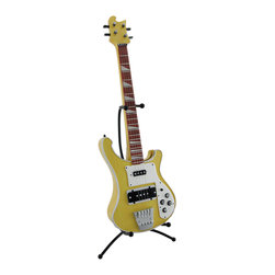 Zeckos - Electric Bass Guitar Coin Bank Piggy Bank with Stand - This stylized highly detailed electric bass guitar coin bank is expertly cast in resin, and is an awesome accent to the homes of music lovers. It looks great on nightstands, end tables, shelves, and desks while providing convenient coin storage. Including the stand, this awesome bass guitar bank measures 15 inches high, 6.5 inches long, 6 inches wide (38 X 17 X 15 cm), and it easily empties via a plastic plug on the bottom. This piece makes a great gift for guitar lovers or the rock star in your life sure to be admired