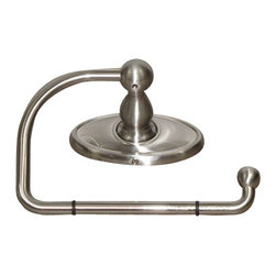 "Top Knobs - Edwardian Bath Tissue Hook - Brushed Satin Nickel - Oval Back Plate - Length - 3 3/8"", Projection - 2 1/2"", Ring / Hook Diameter - 5"" w x 3"" h"