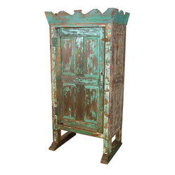 Mexican Artisans - Crown Top Armoire - This armoire offers storage with unique style for your bedroom or other favorite setting. From its carved top to its footed base — and the disarmingly distressed paint technique — the hand-crafted piece is a one-of-a-kind gem.