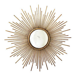 Gold Sunburst Wall Mirror - Provide an instant lift to your traditional décor by adding a transitional piece such as this antique gold mirror.